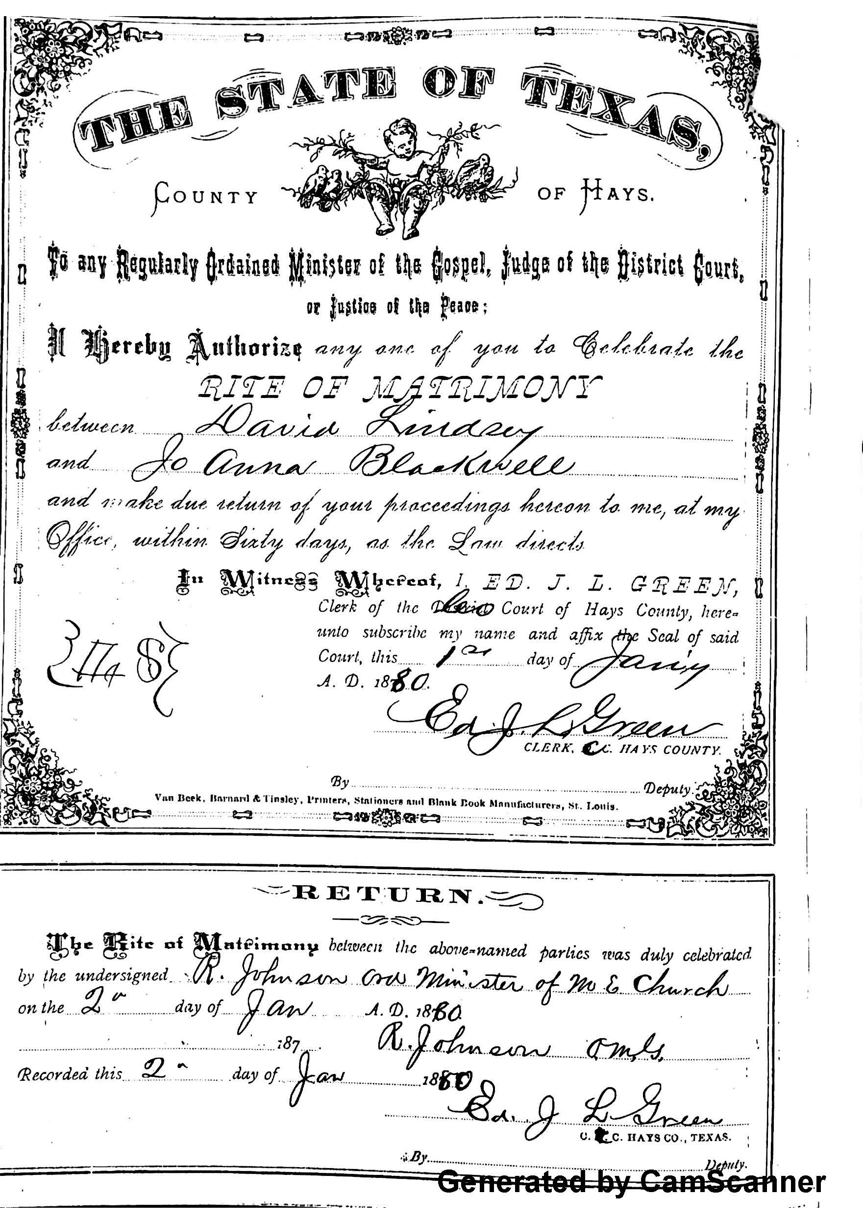 Blackwell gardenhire family the descendants of william blackwell marriage certificate jo anna blackwell and david lindsey xflitez Image collections